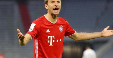 Haderte trotz des Finaleinzugs mit der Bayern-Leistung: Thomas Müller. Foto: Kai Pfaffenbach/Reuters/Pool/dpa