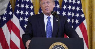 """""""Dieses Blutvergießen muss ein Ende haben"""", sagte Trump. """"Wir haben keine andere Wahl, als uns einzumischen."""" Foto: Evan Vucci/AP/dpa"""