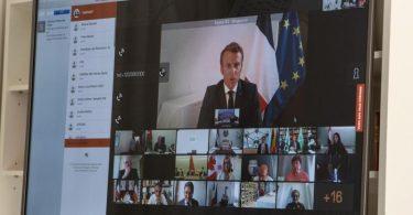 Frankreichs Präsident Emmanuel Macron bei der internationalen Geberkonferenz für den Libanon. Foto: Moncloa/EUROPA PRESS/dpa