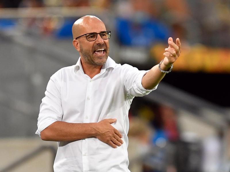 Leverkusen-Trainer Peter Bosz trieb seine Mannschaft von der Seitenlinie an. Foto: Marius Becker/dpa