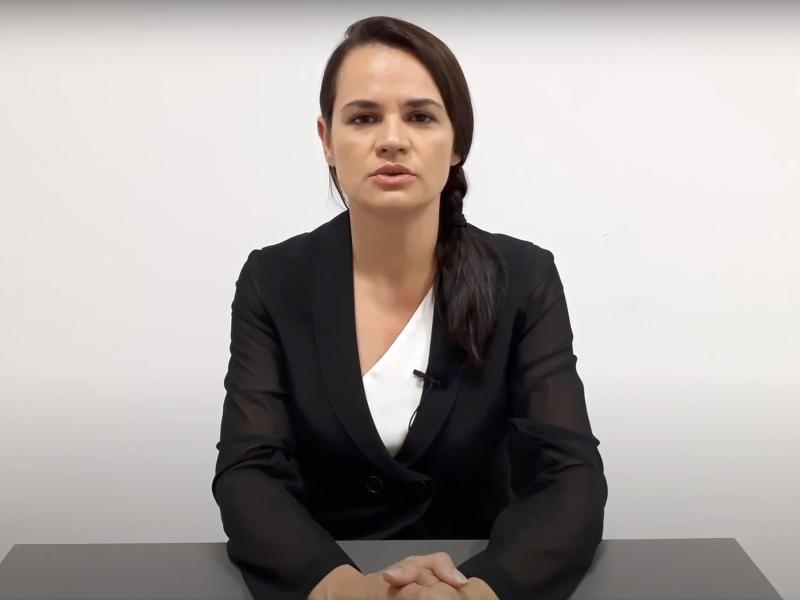 Swetlana Tichanowskaja mekdet sich mit einer Videobotschaft aus ihrem Exil im EU-Land Litauen. Foto: -/SVIATLANA TSIKHANOUSKAYA CAMPAIGN OFFICE/AP/dpa