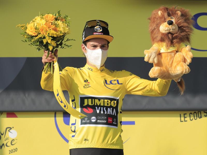 Primoz Roglic, Träger des Gelben Trikots. Foto: Christophe Petit Tesson/EPA/AP/dpa
