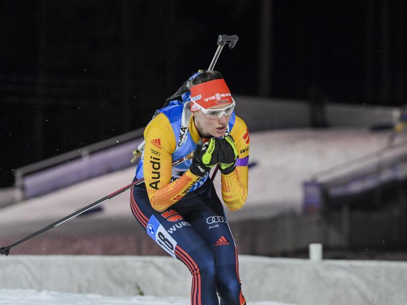 Biathletin Denise Herrmann lief in Finnland auf den zweiten Platz. Foto: Markku Ulander/Lehtikuva/dpa