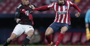 Keine Angst vor den Atlético-Stars:Bayerns Jamal Musiala (l) und Madrids Joao Felix. Foto: Bernat Armangue/AP/dpa