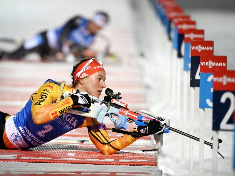 Hat sich Platz fünf erkämpft: Denise Herrmann am liegend Anschlag. Foto: Antti Aimo-Koivisto/Lehtikuva/AP/dpa