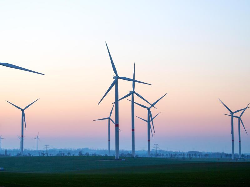 Zahlreiche Windräder in Sachsen. Deutschlands Problemfelder sind zu schwache Ausbauziele für erneuerbare Energien, viel zu wenig Fortschritt im Verkehrssektor sowie ein noch immer hoher Energieverbrauch. Foto: Monika Skolimowska/dpa-Zentralbild/dpa