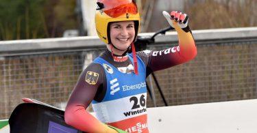 Rodlerin Julia Taubitz siegte in Winterberg. Foto: Caroline Seidel/dpa