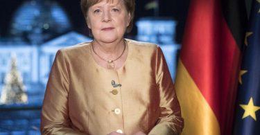 Bundeskanzlerin Angela Merkel bei ihrer jährlichen Neujahrsansprache. Foto: Markus Schreiber/AP/Pool/dpa