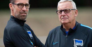 Geraten bei Hertha immer mehr unter Druck: Manager Michael Preetz (l) und Präsident Werner Gegenbauer. Foto: Soeren Stache/dpa