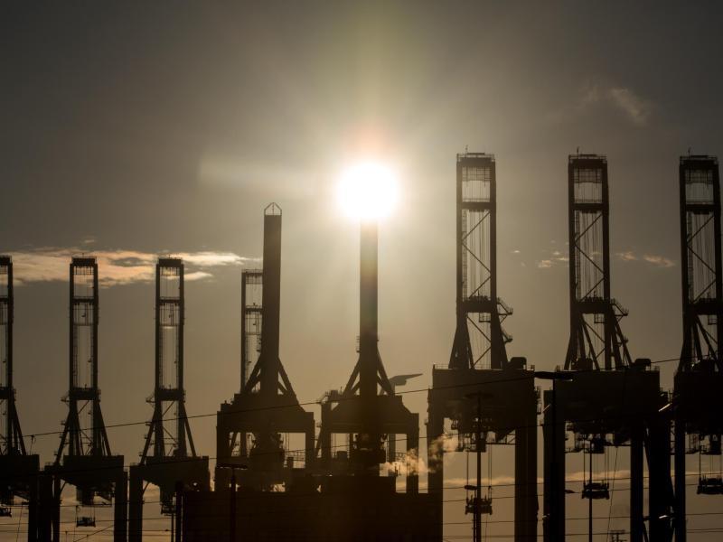 Die Sonne scheint hinter den Kränen des Hamburger Containerterminals Burchardkai. Die Corona-Krise hat der deutschen Exportwirtschaft im vergangenen Jahr schwer zugesetzt. Foto: Daniel Bockwoldt/dpa