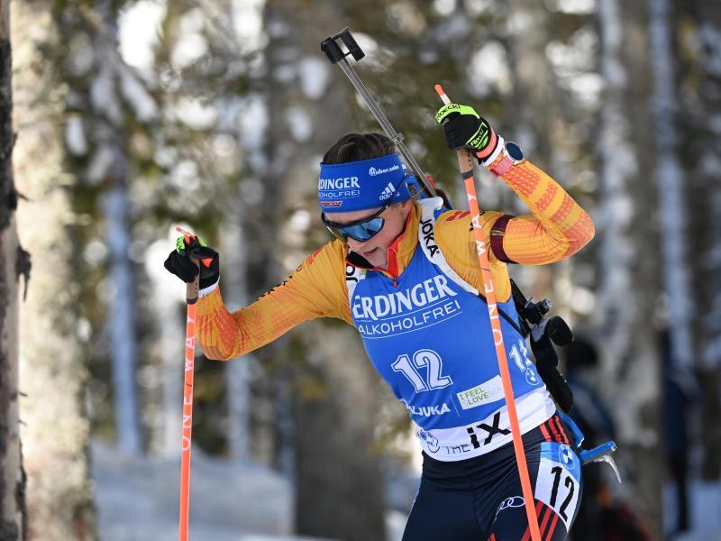 War über 15 Kilometer beste Deutsche auf der Pokljuka: Franziska Preuß. Foto: Sven Hoppe/dpa