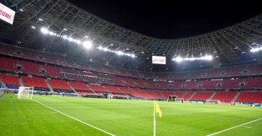 Das Achtelfinal-Hinspiel in der Champions League zwischen RB Leipzig und dem FC Liverpool findet in Budapest statt. Foto: Marton Monus/dpa