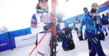 Will sich im Slalom ihre vierte WM-Medaille in Cortina d'Ampezzo sichern: Mikaela Shiffrin. Foto: Michael Kappeler/dpa