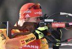 Arnd Peiffer erreichte das Podest im Sprint von Nove Mesto. Foto: Luboš Pavlíèek/CTK/dpa