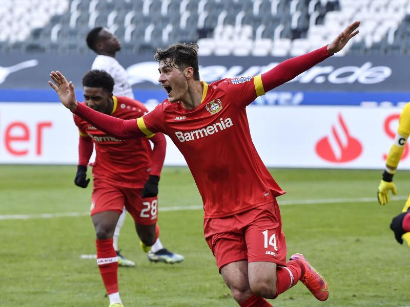 Leverkusens Patrik Schick jubelt nach seinem Tor. Foto: Martin Meissner/Pool AP/dpa
