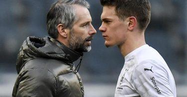 Mönchengladbachs Trainer Marco Rose und Verteidiger Matthias Ginter nach dem Spiel. Foto: Martin Meissner/Pool AP/dpa