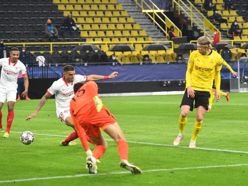 BVB-Torjäger Erling Haaland (r) brachte Dortmund in Führung. Foto: Bernd Thissen/dpa-Pool/dpa