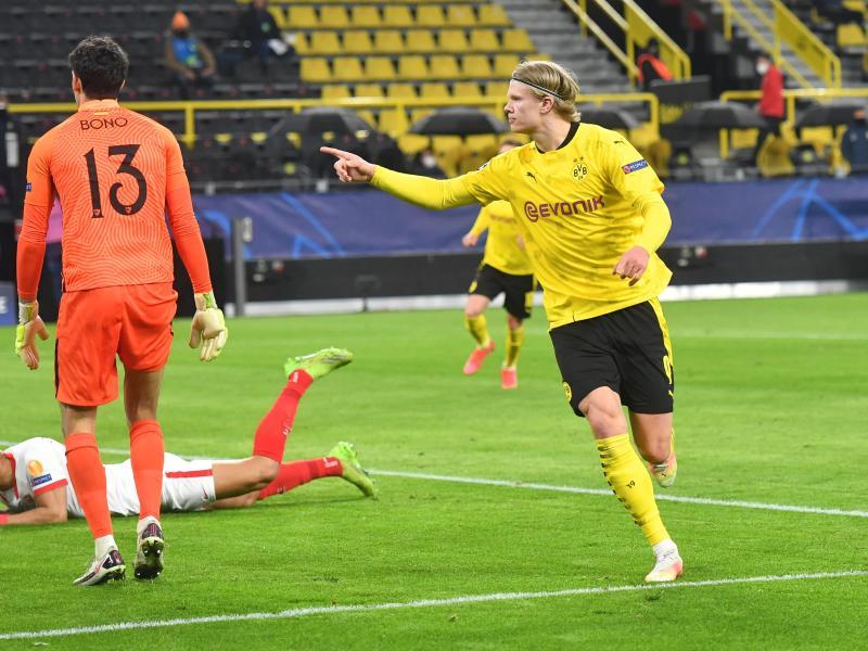Erling Haaland (r) war Dortmunds Erfolgsgarant beim BVB-Weiterkommen gegen Sevilla. Foto: Bernd Thissen/dpa-Pool/dpa