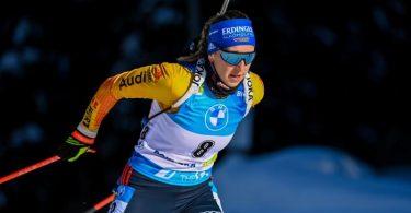 Franziska Preuß schaffte es zum dritten Mal in dieser Saison aufs Podium. Foto: Sven Hoppe/dpa