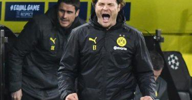 Dortmunds Trainer Edin Terzic freut sich über einen Treffer seiner Mannschaft. Foto: Bernd Thissen/dpa-Pool/dpa