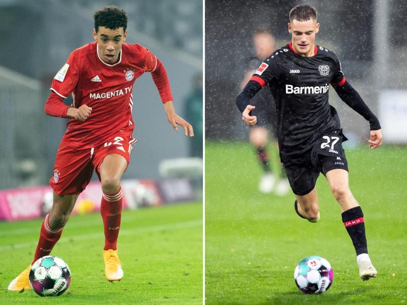 Sind erstmals beim A-Team von Bundestrainer Joachim Löw dabei: Bayern- Profi Jamal Musiala (l) und Leverkusens Florian Wirtz. Foto: Matthias Balk/Tom Weller/dpa