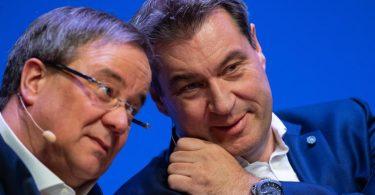 Armin Laschet und Markus Söder wollen die Frage nach der Kanzlerkandidatur der Union klären. Foto: Guido Kirchner/dpa/Archivbild