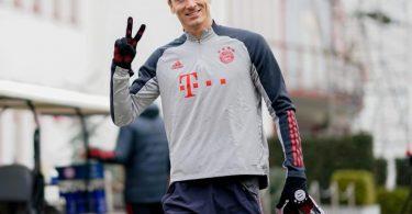 Hat bei Bayern wieder das Training aufgenommen:Robert Lewandowski. Foto: --/FC Bayern München/FCB/dpa
