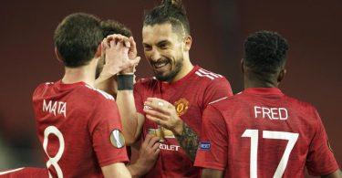 Die Spieler von Manchester United freuen sich über den Einzug ins Halbfinale der Europa League. Foto: Dave Thompson/AP/dpa