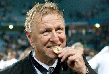 Wird am 17. April 70 Jahre alt: Trainer Horst Hrubesch beißt nach dem Gewinn des U21-EM-Titels auf die Goldmedaille. Foto: picture alliance / dpa