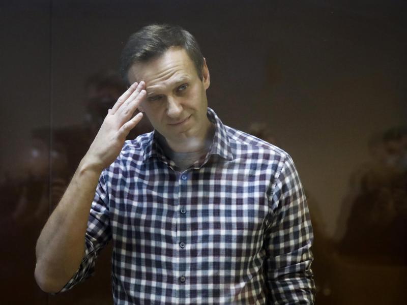 Alexei Nawalny, russischer Oppositionsführer, steht während seiner Verhandlung hinter einer Glasscheibe im Babuskinsky Bezirksgericht. (Archivbild). Foto: Alexander Zemlianichenko/AP/dpa