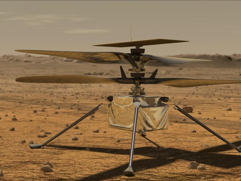 Diese von der NASA zur Verfügung gestellte Illustration zeigt den Mini-Hubschrauber «Ingenuity» auf der Marsoberfläche. Foto: Jpl-Caltech/NASA/ZUMA Wire/dpa