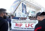 Fans protestierten vor dem Spiel von Leeds United gegen den FC Liverpool gegen die geplante Super League. Foto: Zac Goodwin/PA Wire/dpa