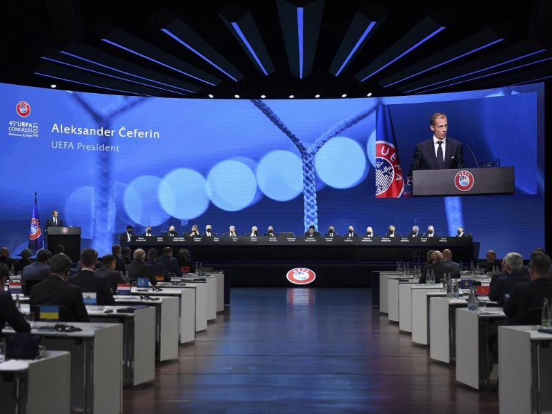 Zum Abschluss hat der UEFA-Kongress einen Beschluss gegen die Super League gefasst. Foto: Richard Juilliart/UEFA/AP/dpa