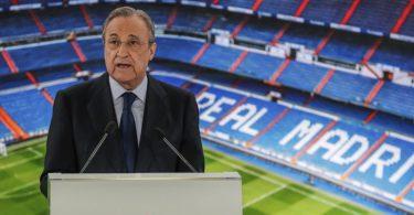Real-Präsident Florentino Pérez glaubt noch an die Super League. Foto: Manu Fernandez/AP/dpa