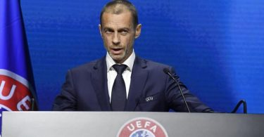Erneuerte seine Warnung an Real Madrid und Co.:UEFA-Präsident Aleksander Ceferin. Foto: Richard Juilliart/UEFA/AP/dpa