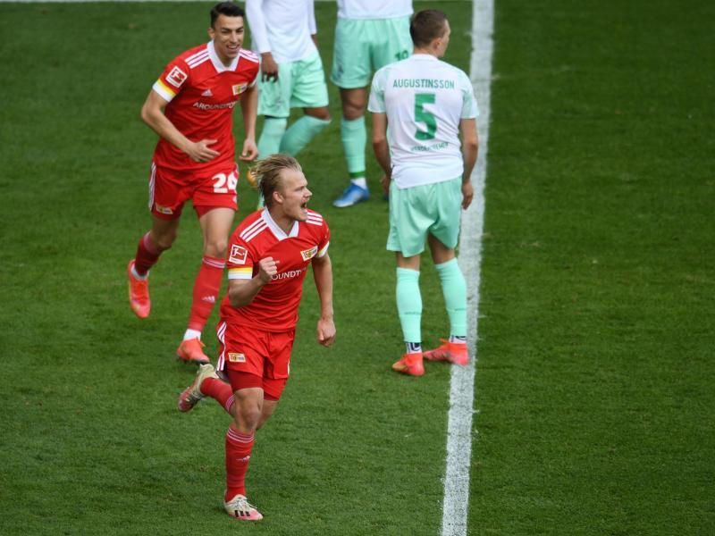Joel Pohjanpalo war der umjubelte Mann beim Union-Sieg gegen Werder Bremen. Foto: Annegret Hilse/Reuters-Pool/dpa