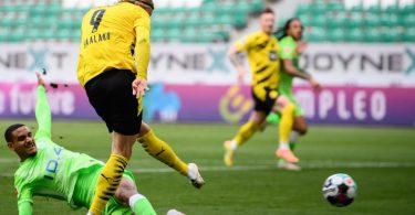 BVB-Torjäger Erling Haaland war Dortmunds Matchwinner in Wolfsburg. Foto: Swen Pförtner/dpa