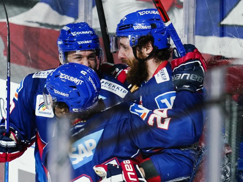 Die Adler Mannheim haben ein frühes Aus im Playoff-Viertelfinale doch abwenden können. Foto: Uwe Anspach/dpa