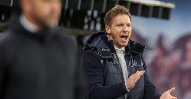 Julian Nagelsmann (r) könnte beim FC Bayern auf Trainer Hansi Flick folgen. Foto: Jan Woitas/dpa-Zentralbild/dpa