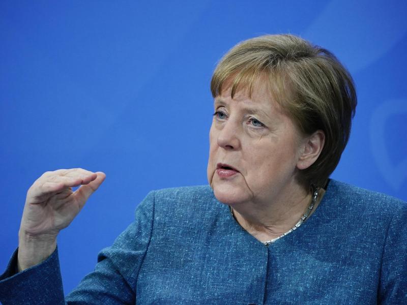 Bundeskanzlerin Angela Merkel während der Pressekonferenz nach dem Impfgipfel im Kanzleramt. Foto: Michael Kappeler/dpa/