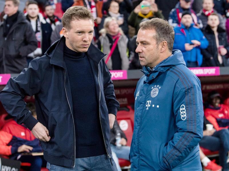 Wie Bayern-Trainer Flick (r) soll auch Nagelsmann um Auflösung seines Vertrages gebeten haben. Foto: Matthias Balk/dpa