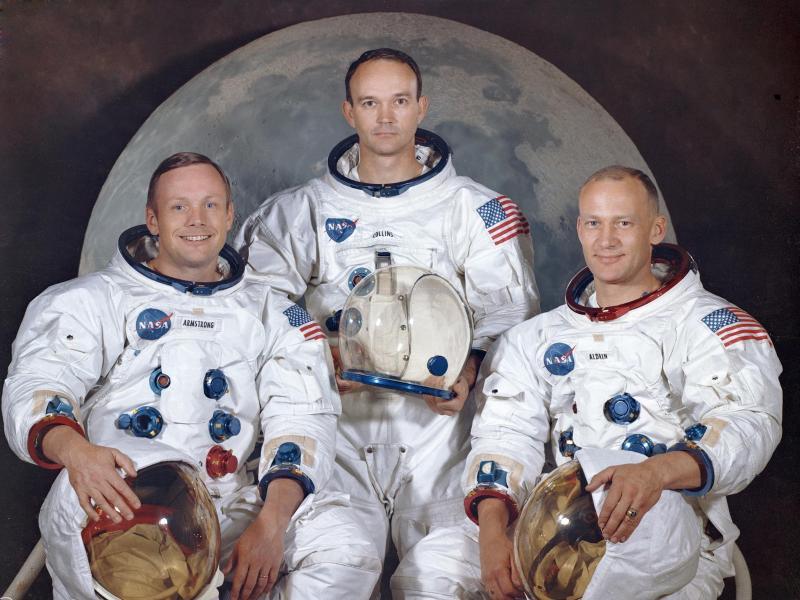 Die Besatzung der Apollo 11: Neil Armstrong (l-r), Michael Collins, und Edwin E. «Buzz» Aldrin im Jahr 1969. Foto: NASA/AP/dpa