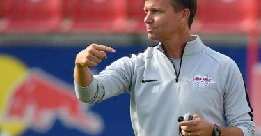 Steht vor einem Wechsel von Salzburg nach Leipzig: Trainer Jesse Marsch. Foto: Hendrik Schmidt/ZB/dpa