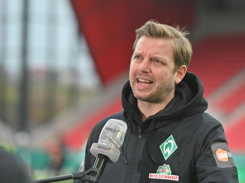 Steht vor dem Halbfinale gegen Leipzig in Bremen mächtig unter Druck: Werder-Coach Florian Kohfeldt. Foto: Armin Weigel/dpa