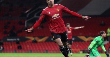 Manchester Uniteds Mason Greenwood freut sich über das sechste Tor im Spiel gegen AS Rom. Foto: Martin Rickett/PA Wire/dpa