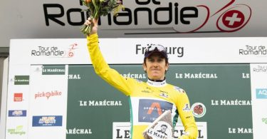 Geraint Thomas hat die Tour de Romandie gewonnen. Foto: Jean-Christophe Bott/KEYSTONE/dpa