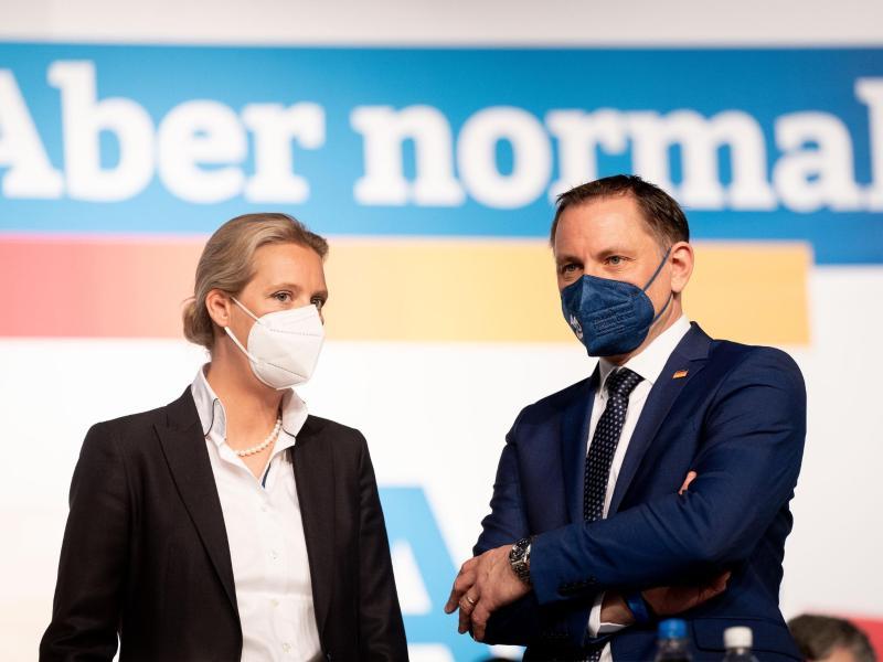 AfD-Franktionsvorsitzende Alice Weidel (l) und AfD-Bundessprecher Tino Chrupalla treten als Team an. Foto: Kay Nietfeld/dpa