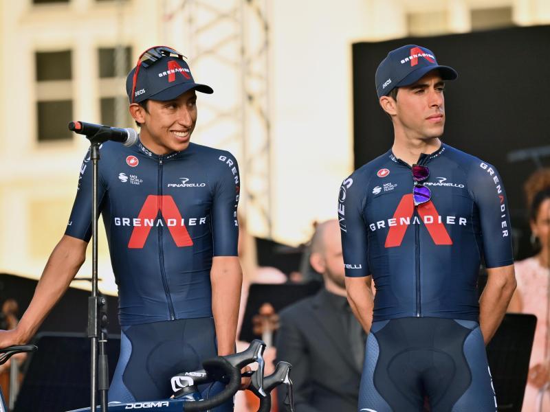 Hält sein Rücken, will er beim Giro voll angreifen: Egan Bernal (l). Foto: Massimo Paolone/LaPresse via ZUMA Press/dpa
