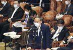 Der japanische Premierminister Yoshihide Suga spricht während einer Sitzung des Repräsentantenhauses. Foto: kyodo/dpa