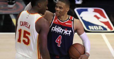 Bekam nach seinem NBA-Rekord gegen Atlanta auch Lob vom Gegner: Wizards-Star Russell Westbrook. Foto: Ben Margot/AP/dpa